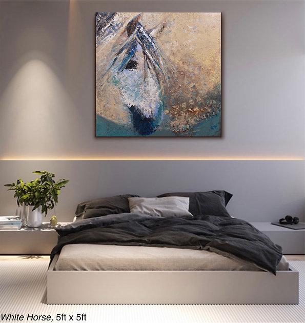 WHITE HORSE, AN ORIGINAL OIL PAINTING BY KIRA FERCHO