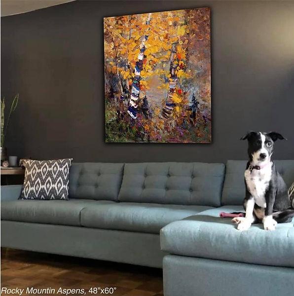 Rocky Mountain Aspens Original Oil Painting by Kira Fercho