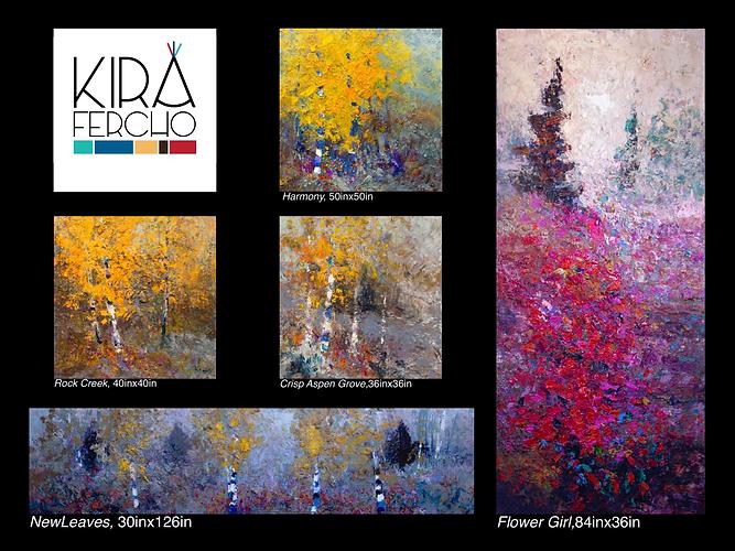 Kira Fercho original oil paintings at Enzo Bistro in Billings Montana