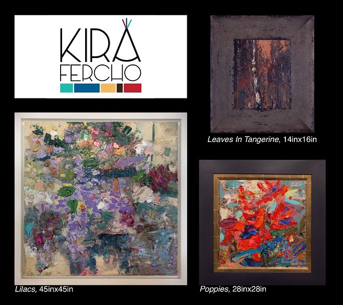Kira Fercho original oil paintings, Leaves in Tangerine, Poppies, Lilacs