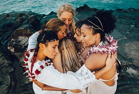 women embracing