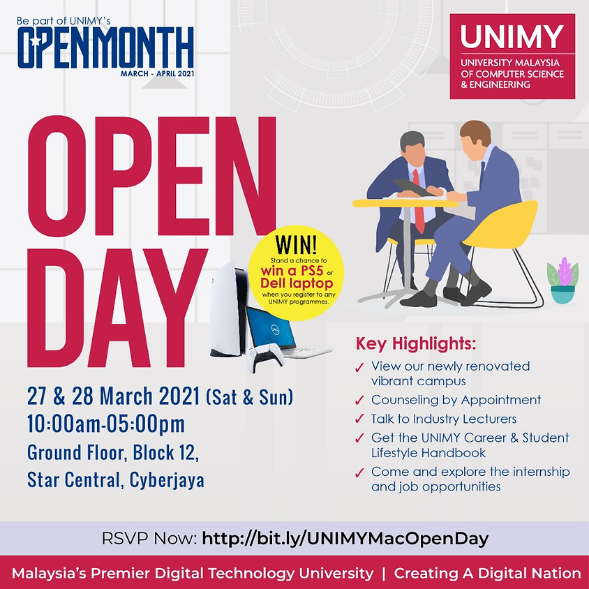 UNIMY Open day 27,28 March
