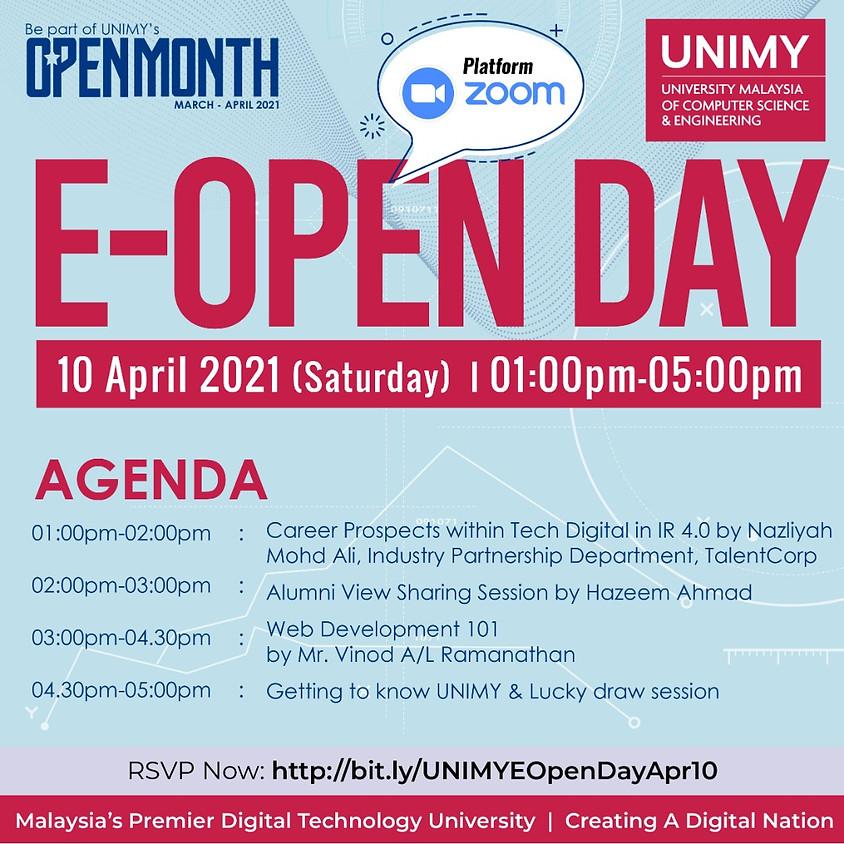 UNIMY E-Open day 10 April