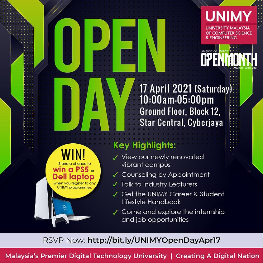 UNIMY Open day 17 April