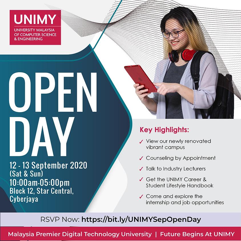 UNIMY Open day 12, 13 September