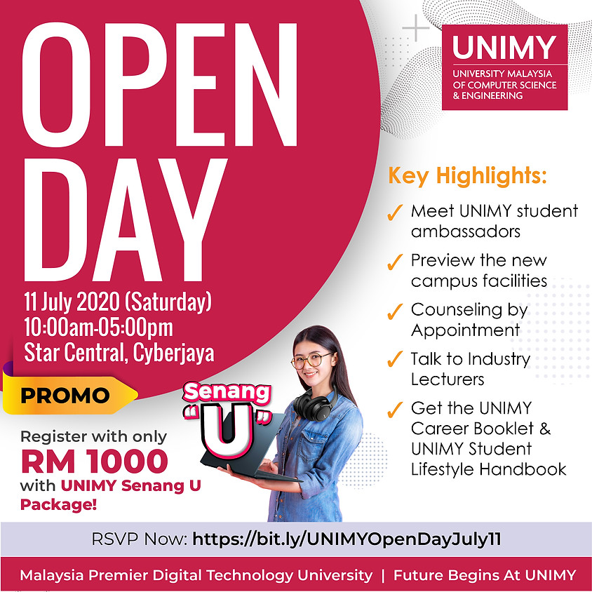 UNIMY Open day 11 July