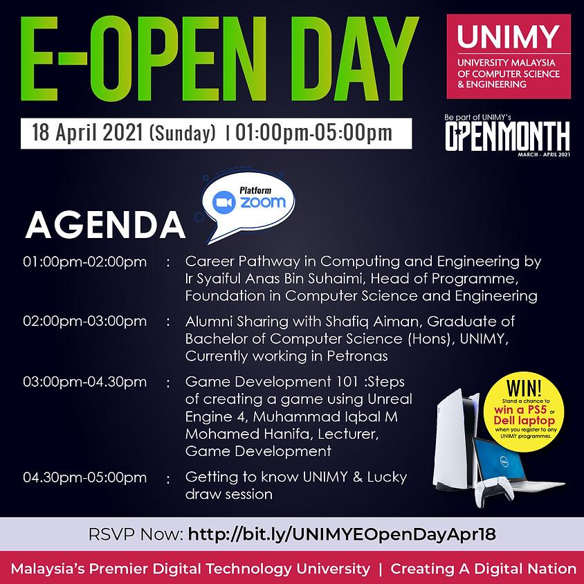 UNIMY E-Open day 18 April