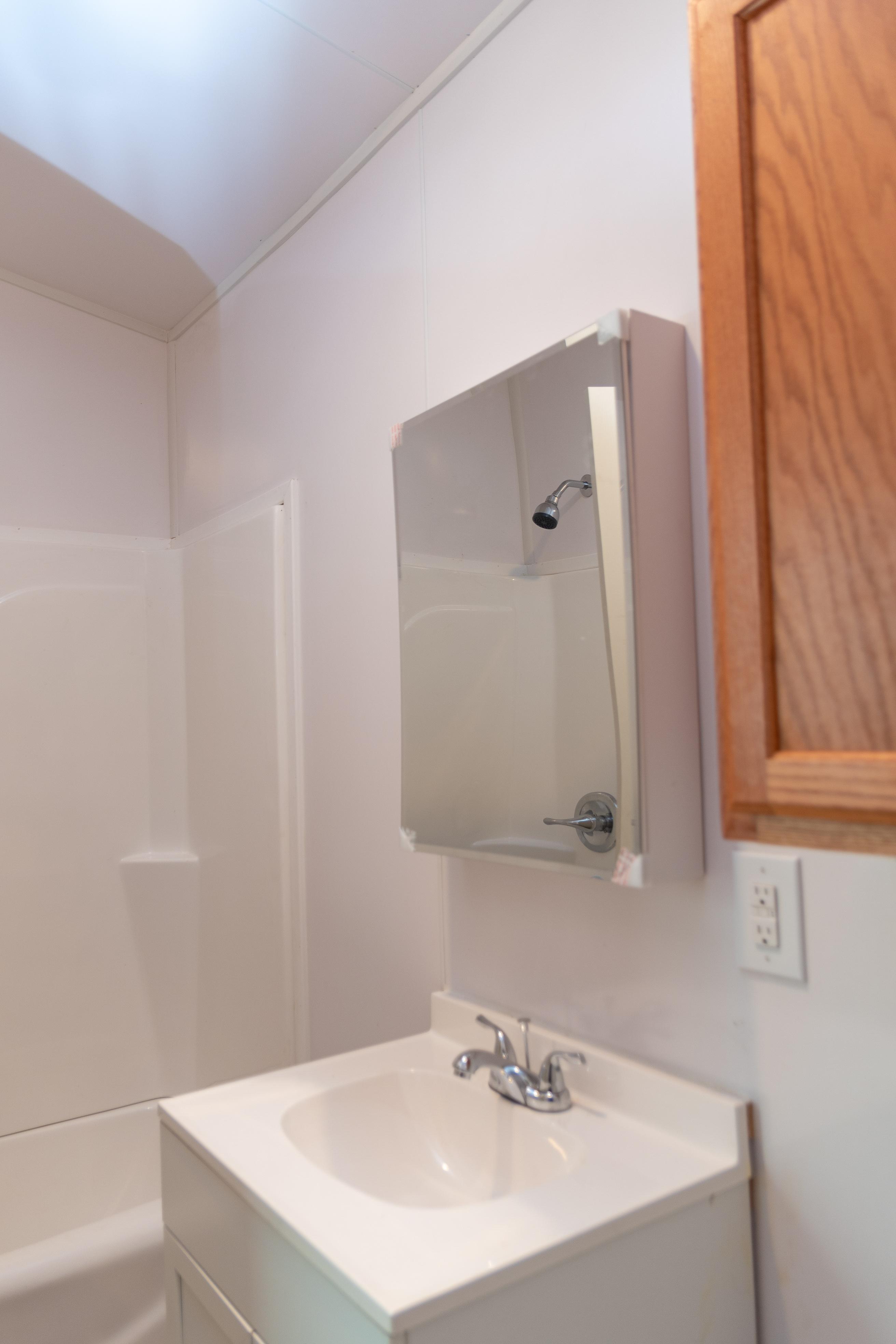 Full bathtub with shower