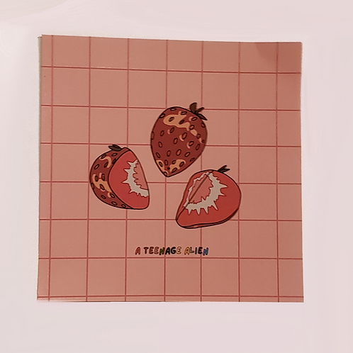 Anime-Style Mini strawberry Desert Food Art Print