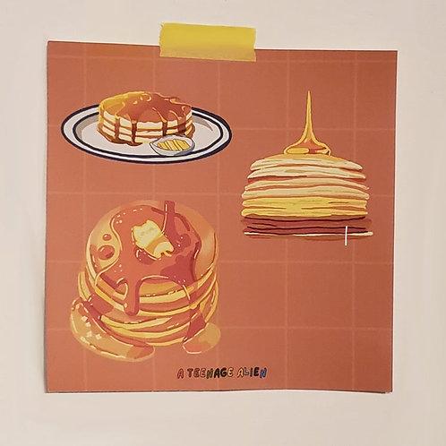 Anime-Style Mini Pancakes Food Art Print