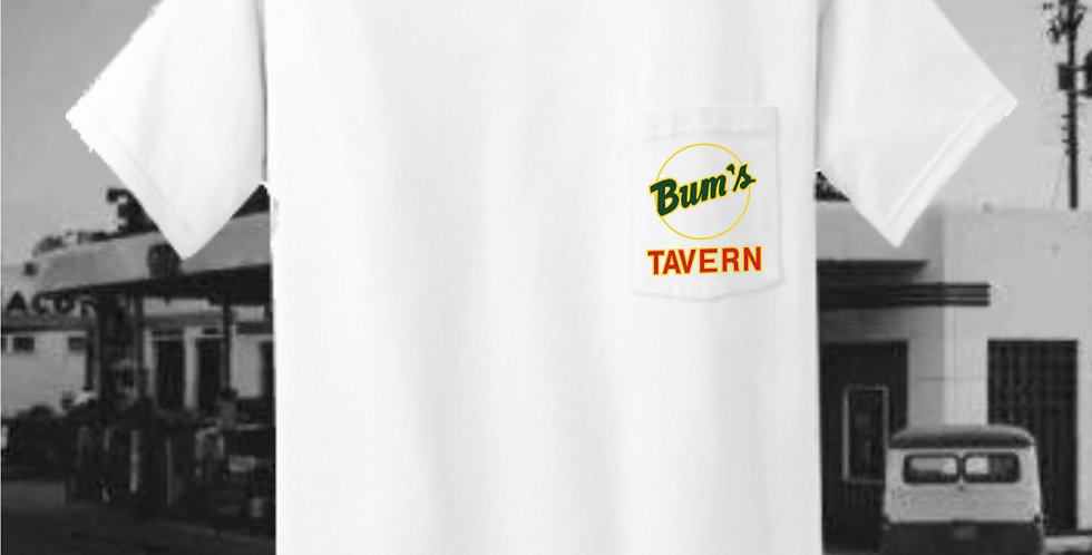 Bum's Tavern White Pocket Tee