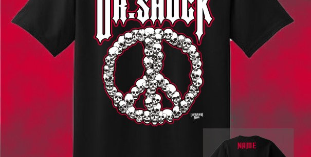 "Dr. Shock ""Peace Skulls"" Cotton T-Shirt"