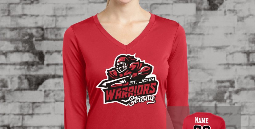 Warriors Longsleeve Ladies Competitor V-Neck (Red Team)