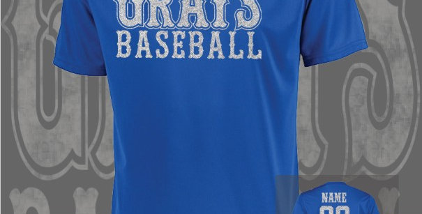 Gray's Baseball Glitter Attain Dry-Fit Royal T-Shirt