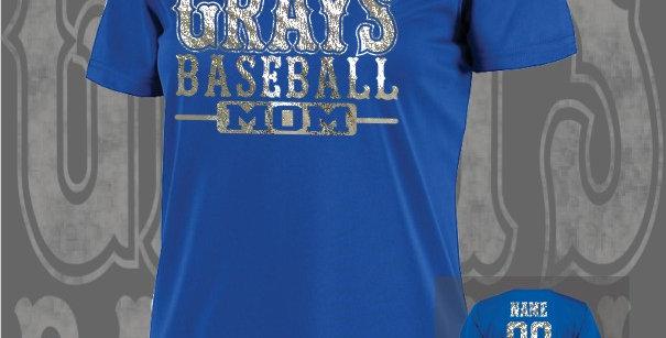 Gray's Baseball Mom Foil Ladies Dry-Fit Royal V-Neck