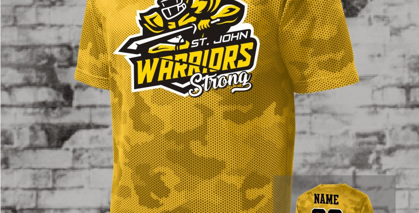 Warriors Strong Mens Gold CamoHex Tee