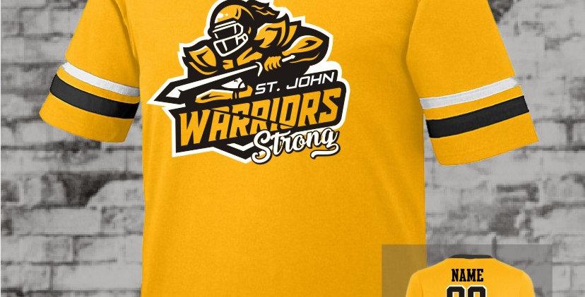 Warriors Strong Gold Stripe Sleeve Jersey