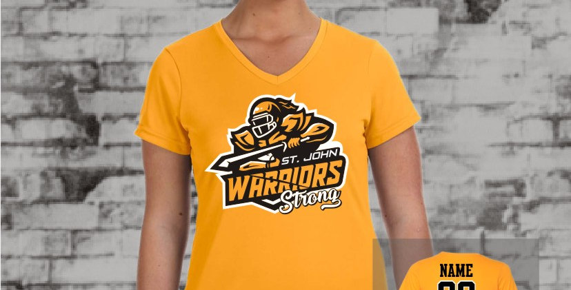 Warriors Ladies Dry-Fit V-Neck (Gold Team)