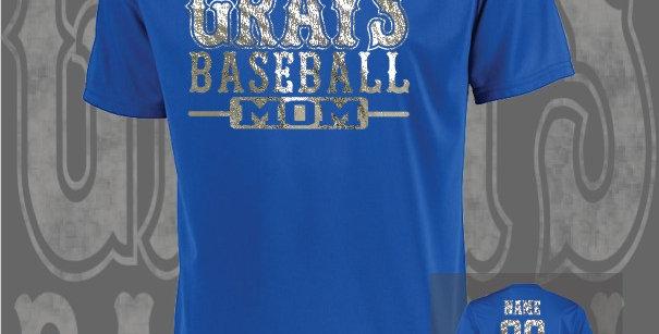 Gray's Baseball Mom Foil Attain Dry-Fit Royal T-Shirt