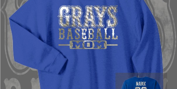 Gray's Baseball Mom Foil Royal Crewneck Sweat