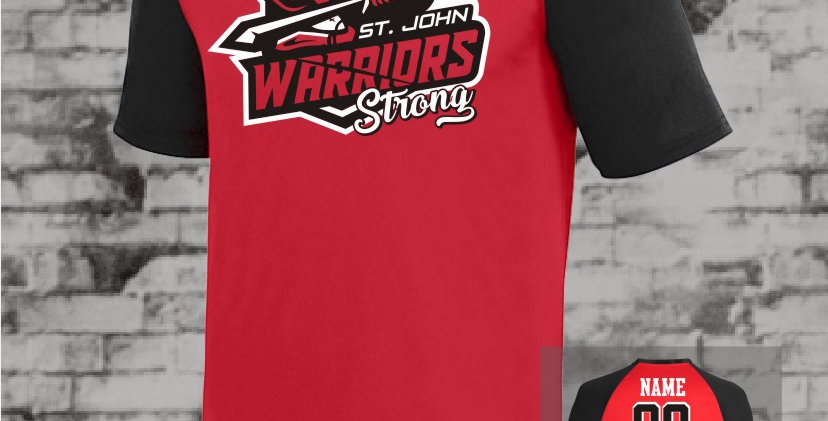 Warriors Strong Raglan Red Dry Fit Jersey
