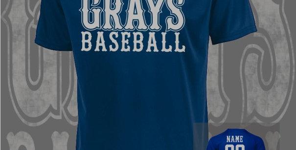 Gray's Baseball Attain Dry-Fit Navy T-Shirt