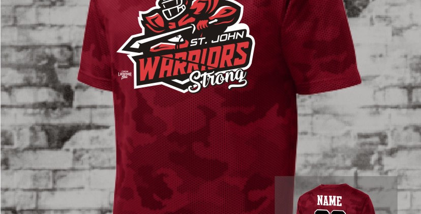 Warriors Strong Mens Red CamoHex Tee