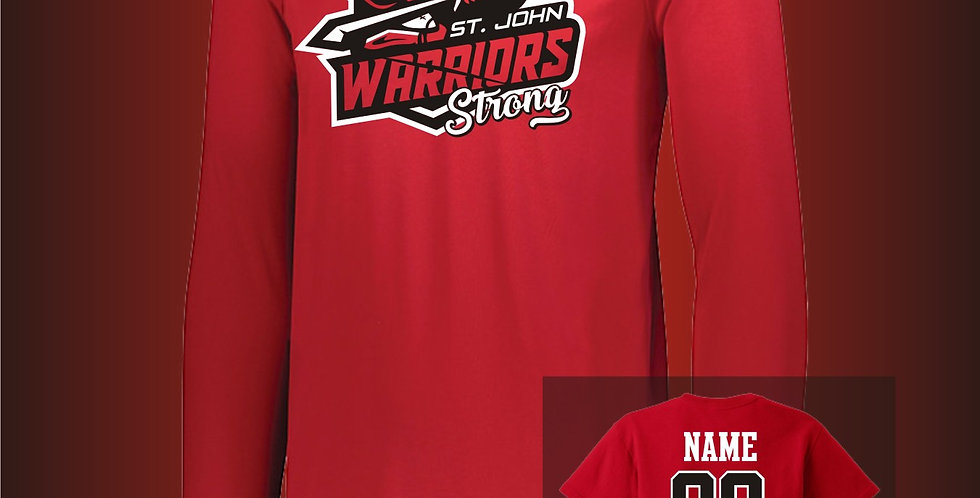 Warriors Strong Red Long Sleeve Dry-Fit T-Shirt