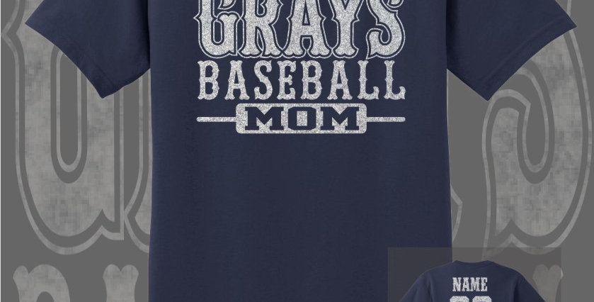 Gray's Baseball Mom Glitter Navy T-Shirt