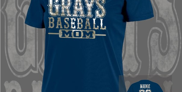 Gray's Baseball Mom Foil Ladies Dry-Fit Navy V-Neck