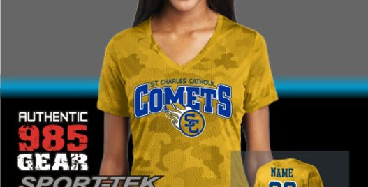 SCC Gold Ladies CamoHex Tee
