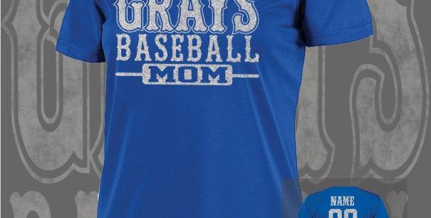 Gray's Baseball Mom Glitter Ladies Dry-Fit Royal V-Neck