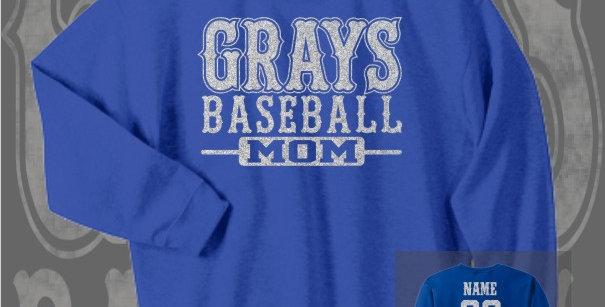Gray's Baseball Mom Glitter Royal Crewneck Sweat
