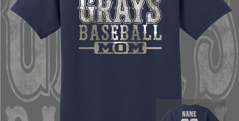 Gray's Baseball Mom Foil Navy T-Shirt