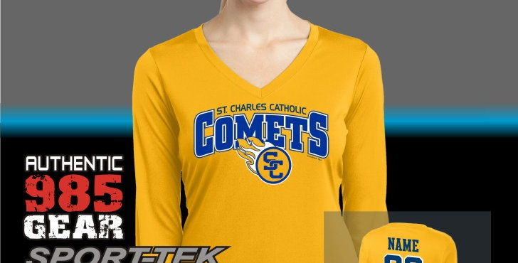 SCC Gold Dry-Fit Longsleeve Competitor V-Neck