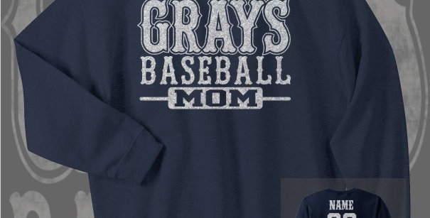 Gray's Baseball Mom Glitter Navy Crewneck Sweat