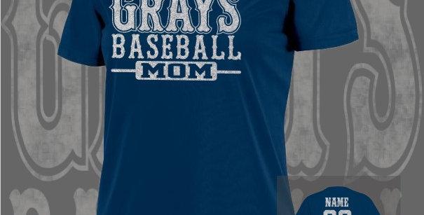 Gray's Baseball Mom Glitter Ladies Dry-Fit Navy V-Neck