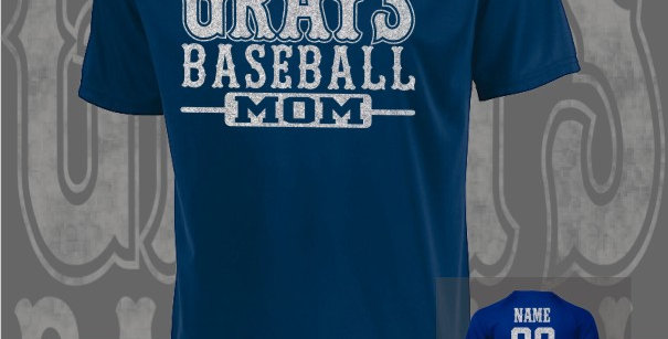 Gray's Baseball Mom Glitter Attain Dry-Fit Navy T-Shirt