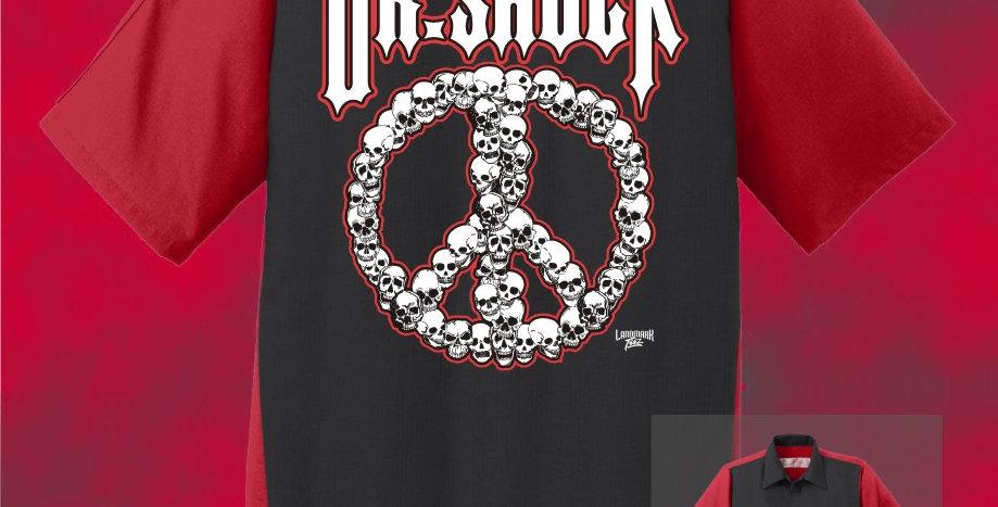 "Dr. Shock ""Peace Skulls"" Ripstop Button Down Shirt"