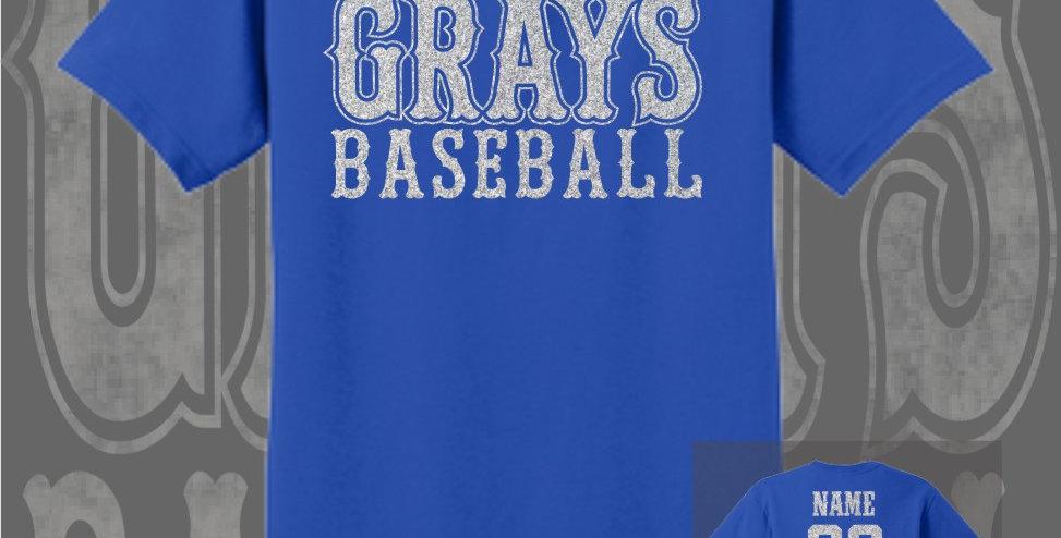 Gray's Baseball Glitter Royal T-Shirt