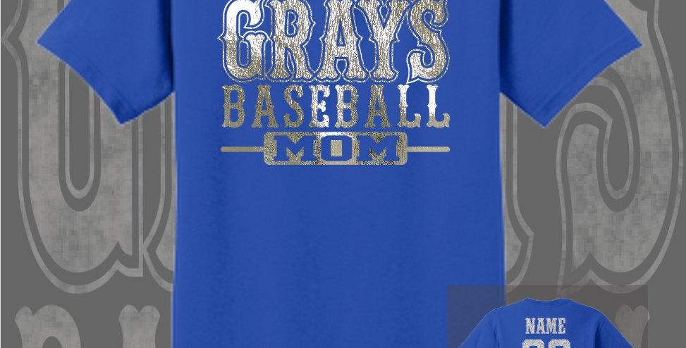 Gray's Baseball Mom Foil Royal T-Shirt
