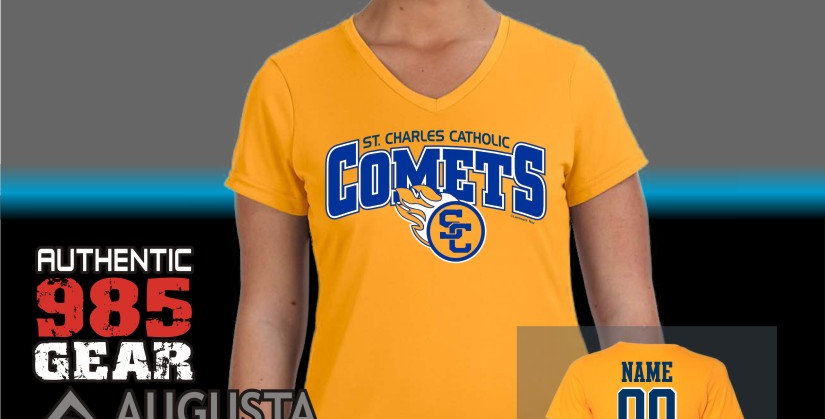 SCC Ladies Gold Dry-Fit V-Neck