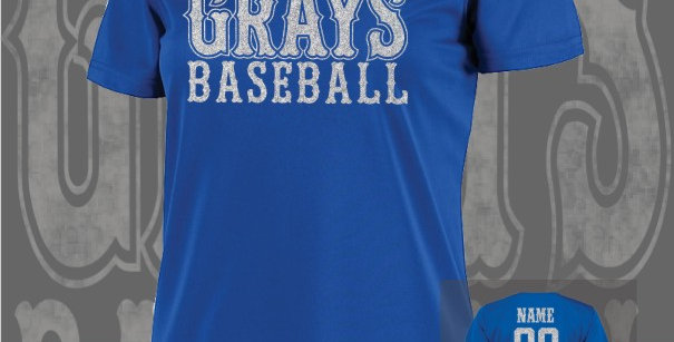 Gray's Baseball Glitter Ladies Dry-Fit Royal V-Neck
