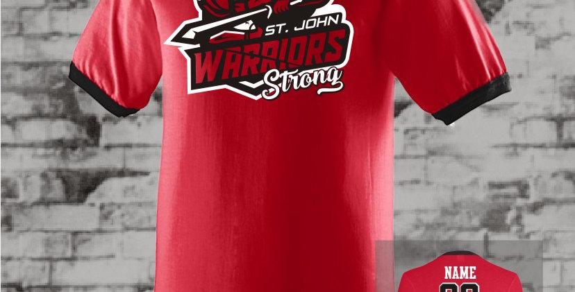 Warriors Strong Red Ringer T-Shirt