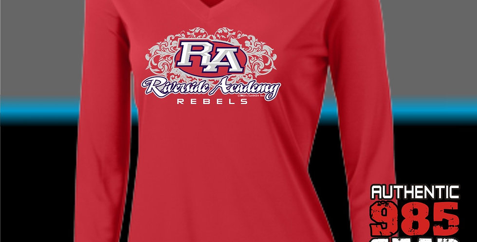RA Ladies Dry-Fit L/S V-Neck