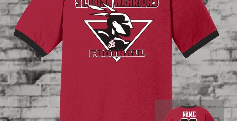Warriors Red/Black Ringer T-Shirt
