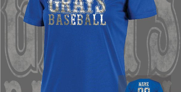 Gray's Baseball Foil Ladies Dry-Fit Royal V-Neck
