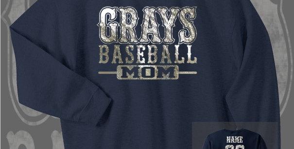 Gray's Baseball Mom Foil Navy Crewneck Sweat