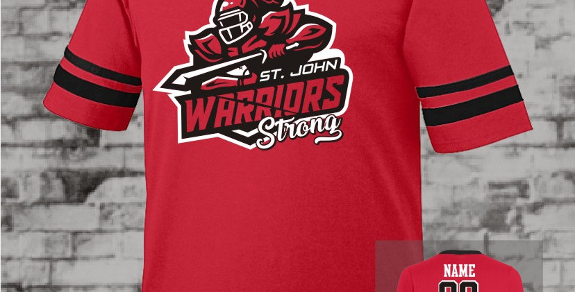 Warriors Strong Red Stripe Sleeve Jersey