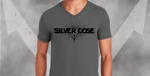 Silver Dose Charcoal V-Neck Cotton T-Shirt